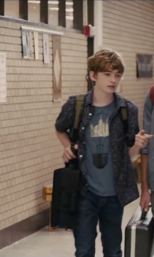 Austin Abrams with Ted Baker London 'Normat' Floral Print Polo in Paper Towns