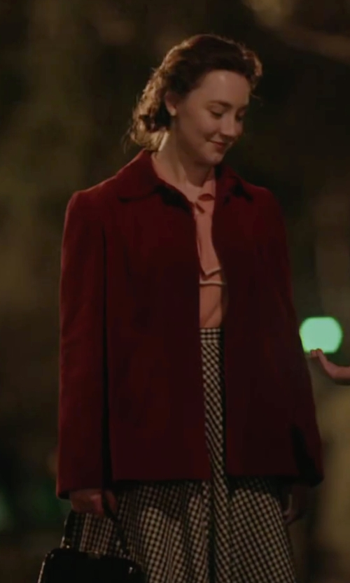 Saoirse Ronan with Alberto Biani Single Breasted Coat in Brooklyn
