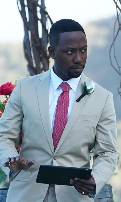 Lamorne Morris with Yves Saint Laurent Textured Silk Tie in New Girl