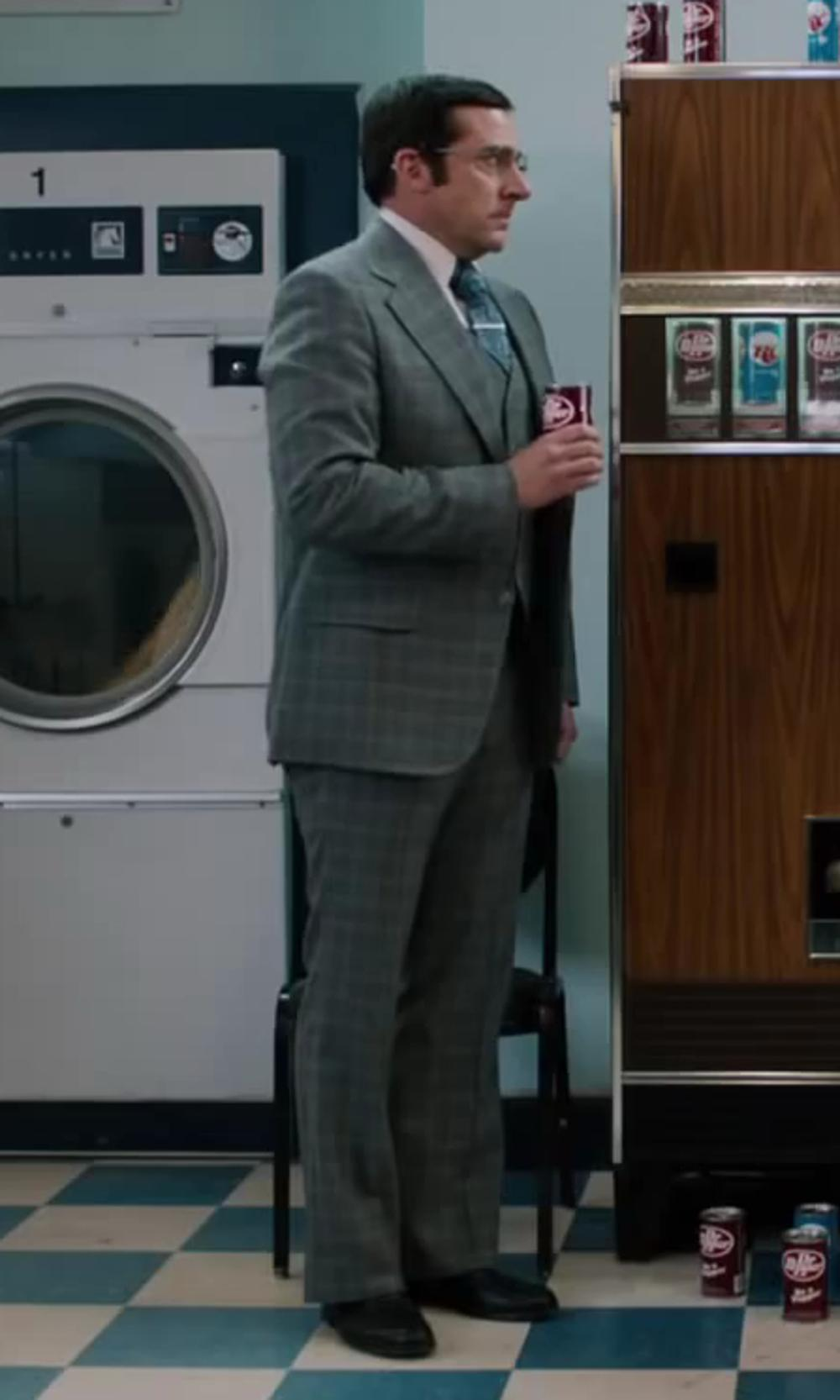Steve Carell with Hugo Boss Mattion Leather Lace-Up Oxford in Anchorman 2: The Legend Continues