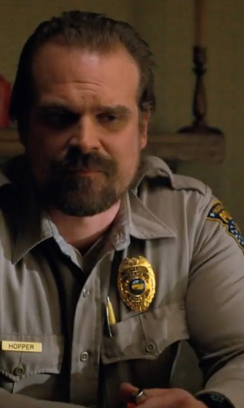 David Harbour with Timex Camper Mk1 Resin And Grosgrain Watch in Stranger Things