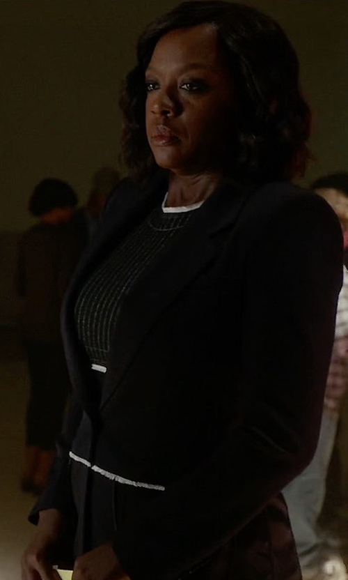 Viola Davis with DKNY Pinstripe Mixed Media Sheath Dress in How To Get Away With Murder