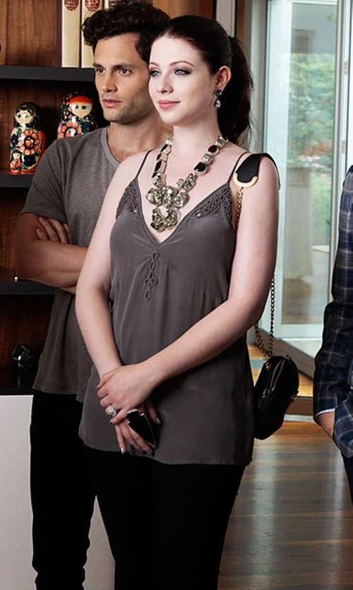 Michelle Trachtenberg with Charles Albert Smokey Quartz and Pyrite Necklace in Gossip Girl