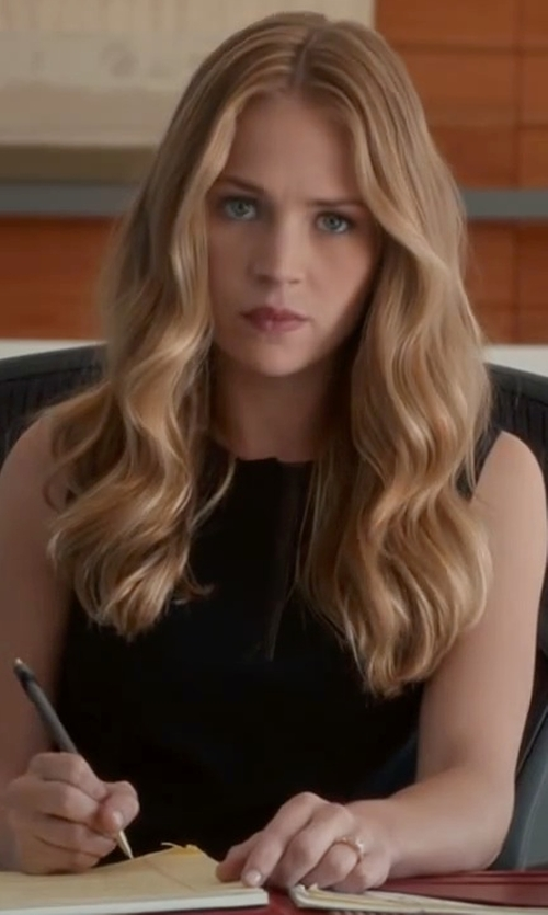 Britt Robertson with Vince Camuto Mesh Insets Sleeveless Dress in The Longest Ride