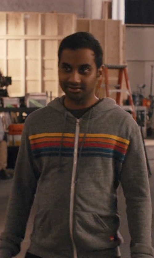 Aziz Ansari with Aviator Nation 5 Stripe Hoodie in Master of None
