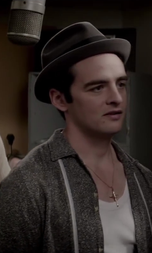 Vincent Piazza with GUCCI necklace with diamante pattern engraved cross pendant in Jersey Boys