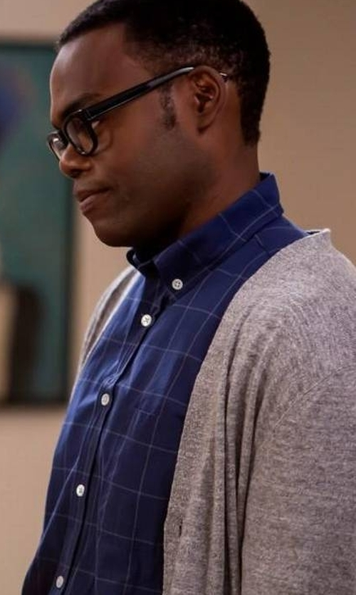 William Jackson Harper with Hugo Boss Colored Ground Check Shirt in The Good Place