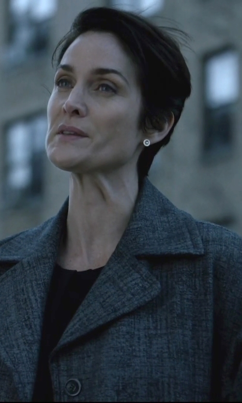 Carrie-Anne Moss with Mauro Grifoni Double Breasted Coat in Jessica Jones