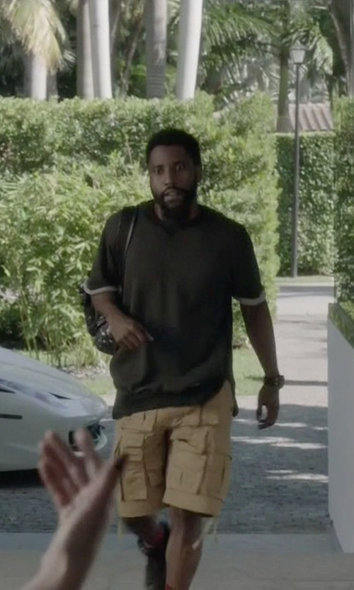 John David Washington with T by Alexander Wang Classic Short-Sleeve Crewneck T-Shirt in Ballers