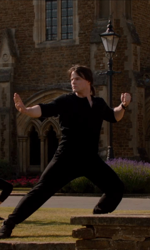 Danila Kozlovsky with ASOS Long Sleeve T-Shirt With V Neck in Vampire Academy