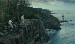 Leonardo DiCaprio with Otter Cliff, Acadia National Park Bar Harbor, Maine in Shutter Island