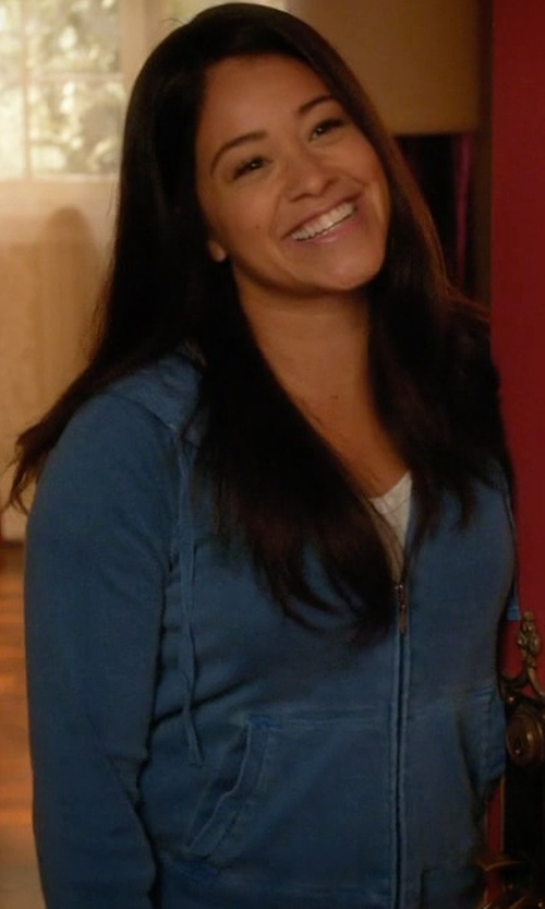 Gina Rodriguez with ATM Anthony Thomas Melillo Zip-Front Hoodie in Jane the Virgin
