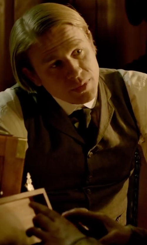 Charlie Hunnam with (+) People Single Breasted Vest in Crimson Peak