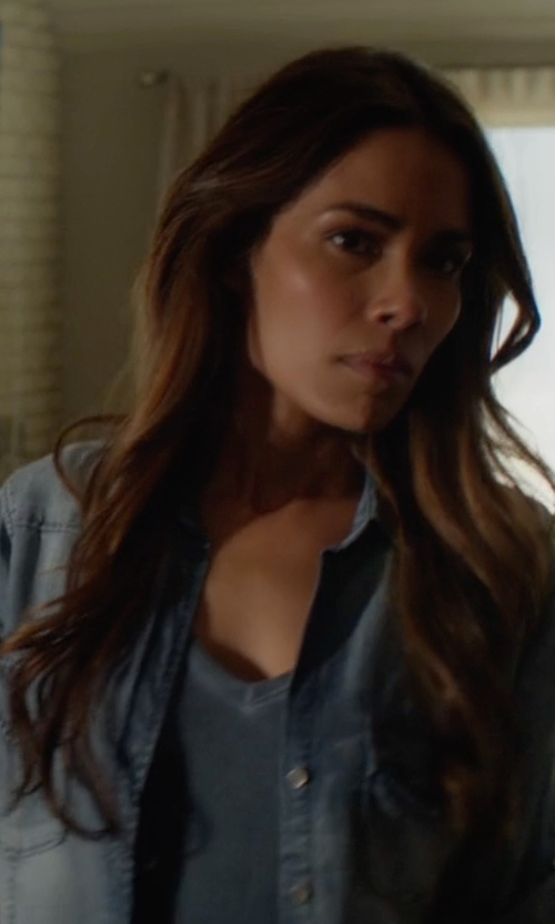 Daniella Alonso with Velvet Heart  Grace Tab-Sleeve Denim Shirt in Animal Kingdom