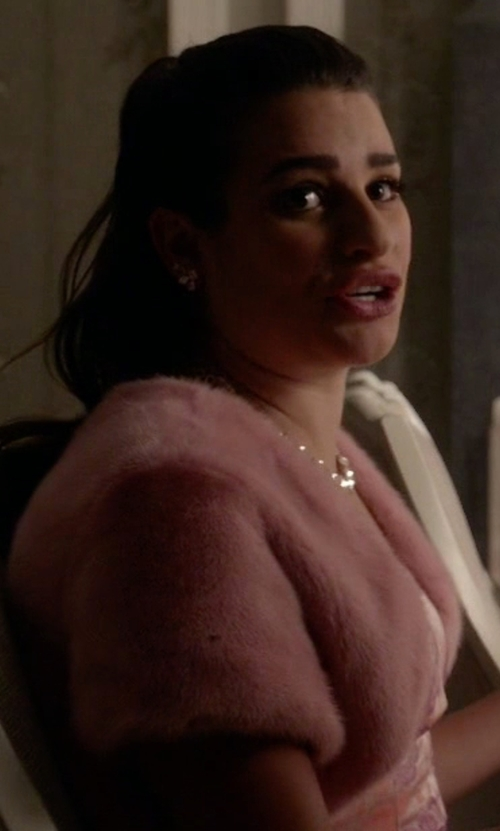 Lea Michele with Lucca Couture Women's Faux-Fur Jacket in Scream Queens