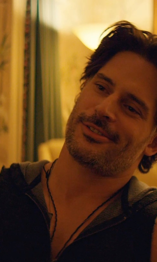Joe Manganiello with Black Scale The Trinity Leather Dog Tag Necklace in Magic Mike XXL