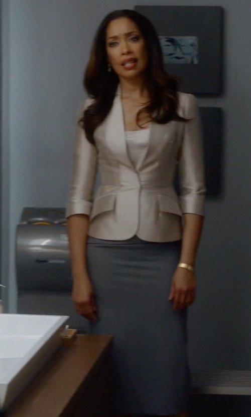 Gina Torres with Alexander McQueen Pencil Skirt in Suits