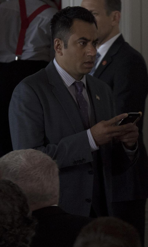 Kal Penn with Boss Micro-Nailhead Three-Piece Suit in Designated Survivor