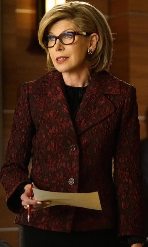 Christine Baranski with Escada 3/4-Sleeve Two-Button Jacquard Jacket in The Good Fight