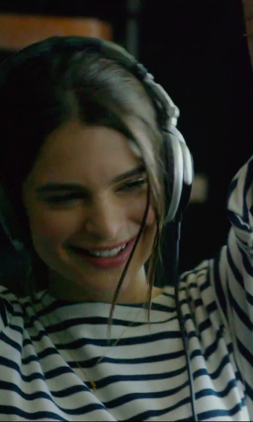 Emily Ratajkowski with Comme Des Garcons Play Stripe Long Sleeve Shirt in We Are Your Friends