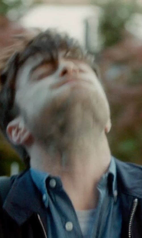 Daniel Radcliffe with Neiman Marcus Chambray Button-Down Shirt in What If