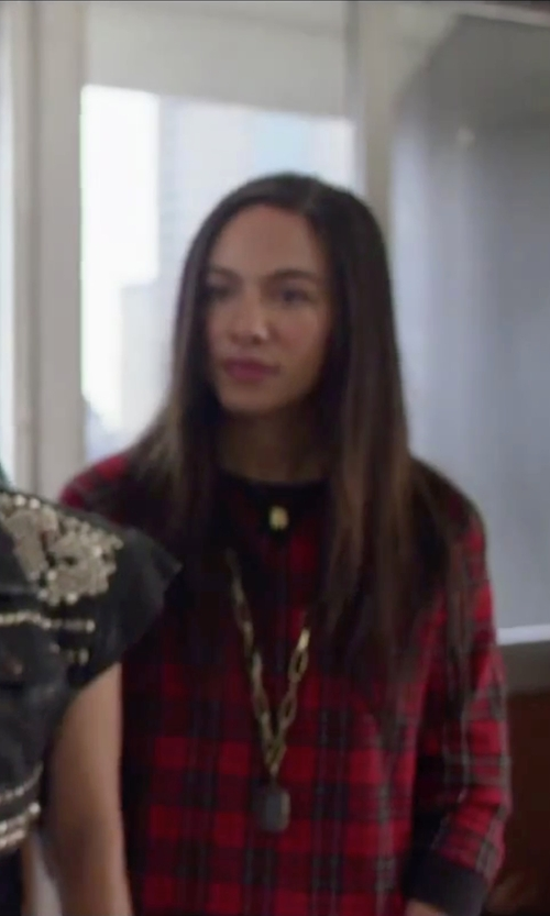 Aurora Perrineau with AQUA Plaid Sweater in Jem and the Holograms