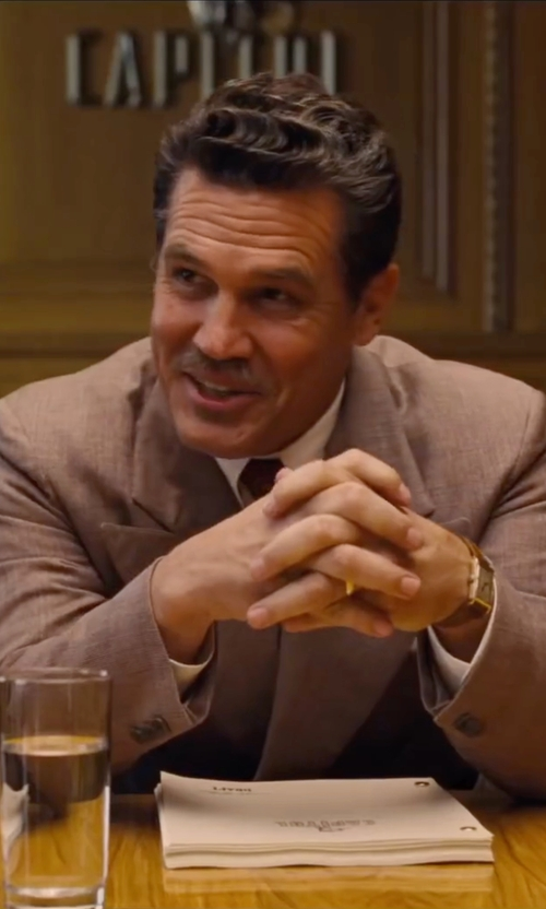 Josh Brolin with Seiko  Men's Brown Leather Solar-Power Dress Watch in Hail, Caesar!