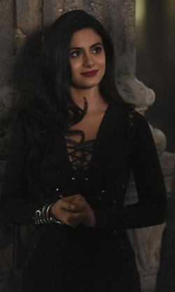 Emeraude Toubia with Marciano by Guess Marid Bandage Dress in Shadowhunters