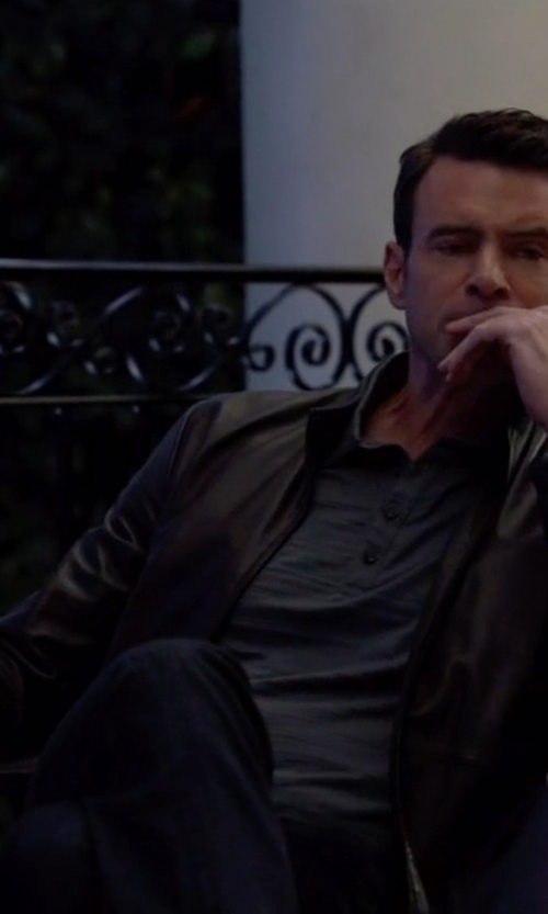 Scott Foley with Andrew Marc X Richard Chai Leather Stand Collar Jacket in Scandal