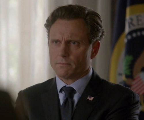 Tony Goldwyn with Brooks Brothers Fitzgerald Two-Button 1818 Suit in Scandal