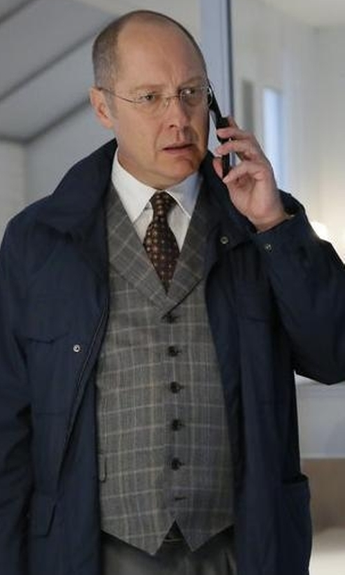 James Spader with Brioni Plaid Wool Vest in The Blacklist