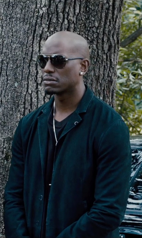 Tyrese Gibson with Lacoste V-Neck Pima Cotton T-Shirt in Furious 7