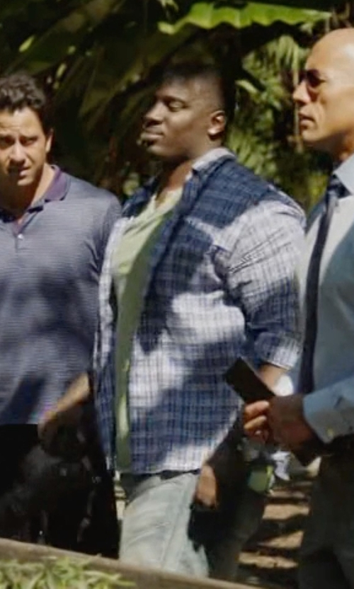 Donovan W. Carter with Giorgio Armani Slim-Fit Gingham Check Sportshirt in Ballers