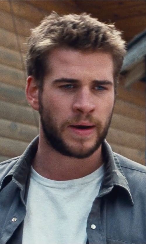 Liam Hemsworth with Sandro Worker Chambray Button Down Shirt in Cut Bank
