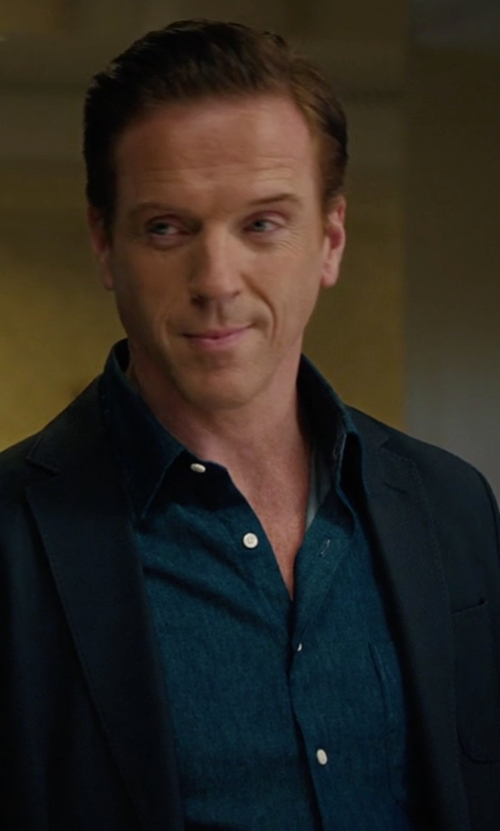 Damian Lewis with Loro Piana Alain Denim Long-Sleeve Sport Shirt in Billions