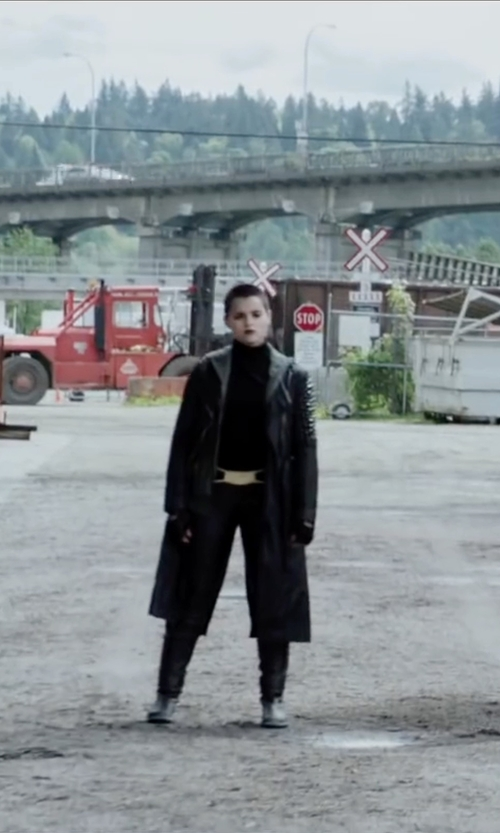 Brianna Hildebrand with Wilsons Leather Belted Maxi Leather Coat in Deadpool