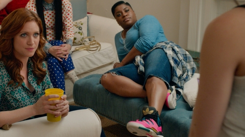 Ester Dean with Adidas Hot Pink Spike High Top Sneakers in Pitch Perfect 2