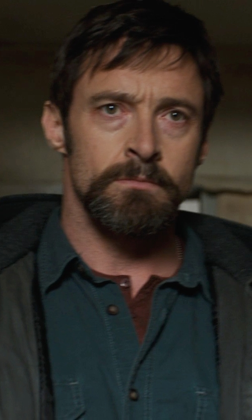 Hugh Jackman with Arnold Zimberg Double Pocket Long Sleeve Button Down Shirt in Prisoners