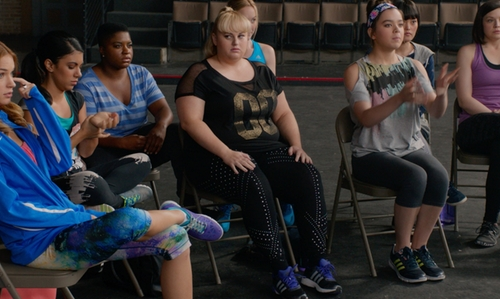 Rebel Wilson with Eloquii Studio Graphic Studded Leggings in Pitch Perfect 2