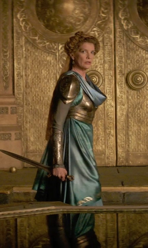 Rene Russo with Wendy Partridge (Costume Designer) Custom Made Armored Long Sleeved Tiered Gown (Frigga) in Thor: The Dark World