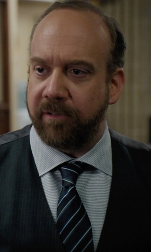 Paul Giamatti with Gitman Stripe Silk Tie in Billions