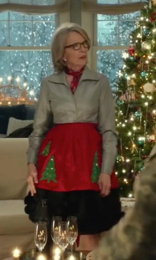 Diane Keaton with Tracy Reese Cotton Metal Fit and Flare Skirt in Love the Coopers