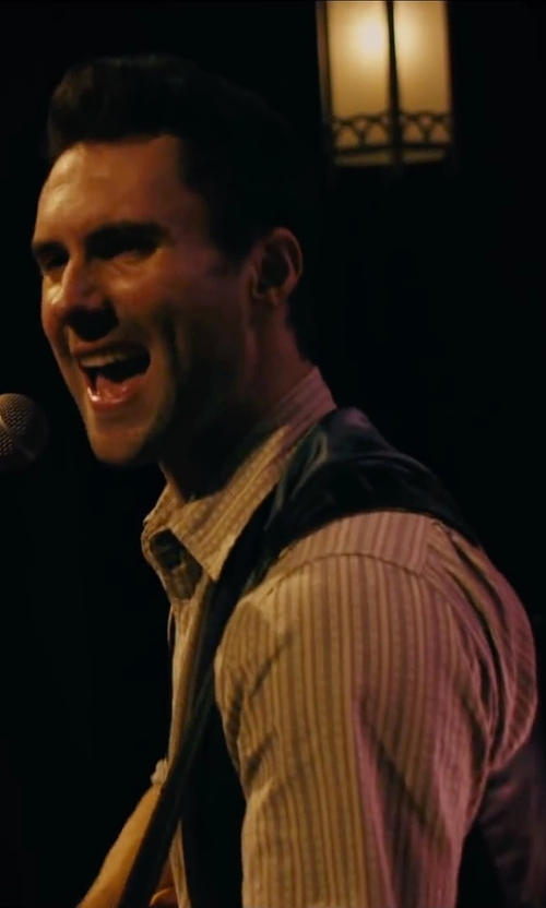 Adam Levine with Armani Pinstriped Cotton Dress Shirt in Begin Again