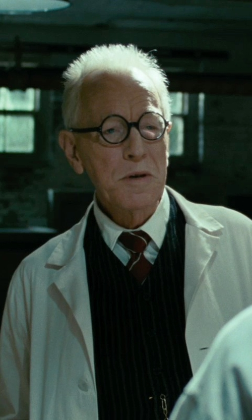 Max von Sydow with Jos. A. Bank Traveler Pinpoint Solid Tab Collar Dress Shirt in Shutter Island