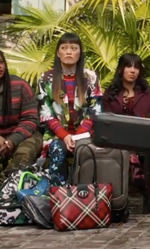 Hana Mae Lee with Isabel Marant Étoile Striped Knit Mock Neck Jumper in Pitch Perfect 3