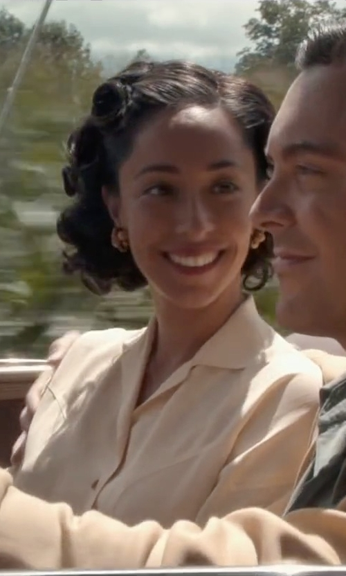 Oona Chaplin with Lafayette 148 New York Long Sleeve Amara Blouse in The Longest Ride