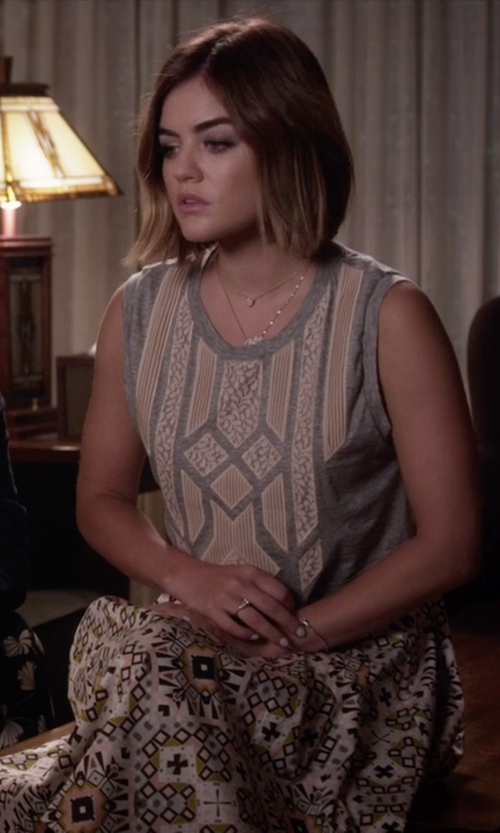 Lucy Hale with J.Crew Lace Appliqué Tank Top in Pretty Little Liars