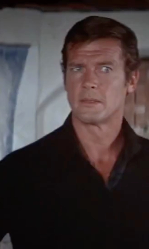 Roger Moore with Theory Classic V-Neck Sweater in The Spy Who Loved Me