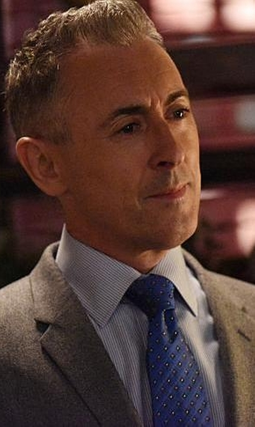 Alan Cumming with Canali Navy Blue And White Polka Dot Silk Tie in The Good Wife