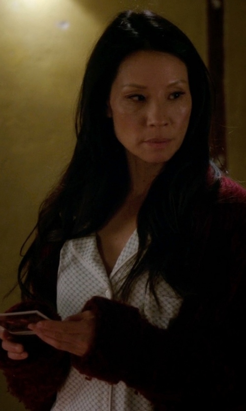 Lucy Liu with Isabel Marant ÉToile Cable Knit Belted Floyd Cardigan in Elementary
